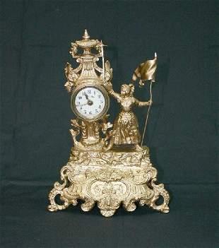 Gold Figural Clock