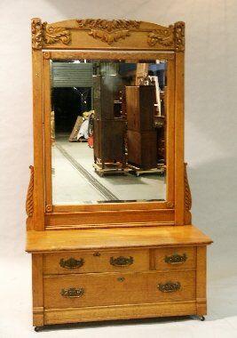 15: American Oak Mirrored Dresser