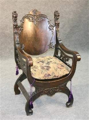 Oak Lion's Head Throne Chair