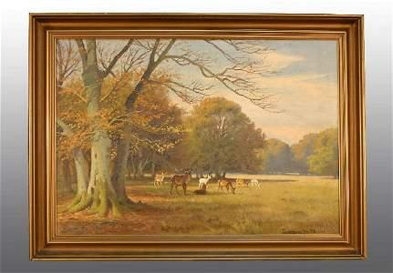 "114: ""Royal Deer Garden"" O/C Painting"
