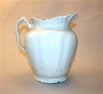 """1001: Early Porcelain 10.5"""" Pitcher. Good Condition."""