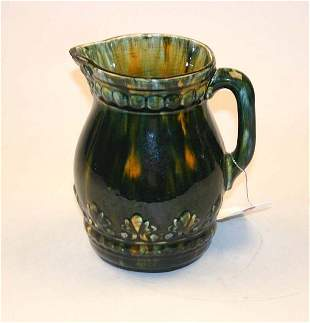 High Gloss Multi-Colored Pitcher. Repair at Spout