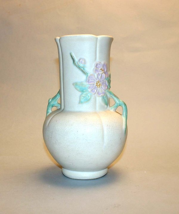 "1009: Weller 9.5"" Apple Blossom Vase. Light Crazing."