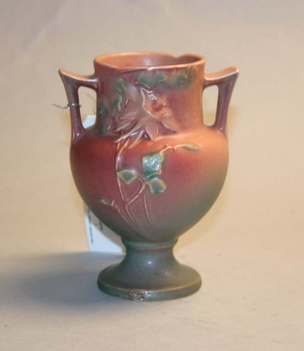 1011: Roseville 150-6 Double Handle Vase. Repair at Bas