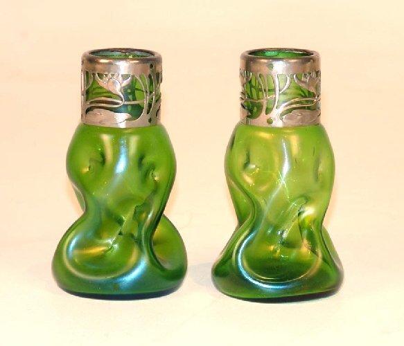1: Pair Art Glass Vases Attr. Durand