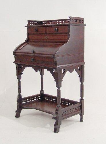 13: American Victorian Eastlake Cylinder Desk