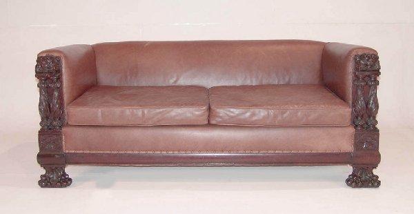 14: Late Victorian Mahogany and Leather Sofa