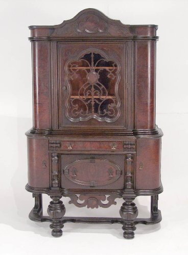 18: Walnut Jacobean Style China Cabinet