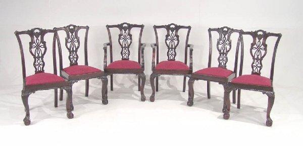 19: Six English Mahogany Chippendale Chairs