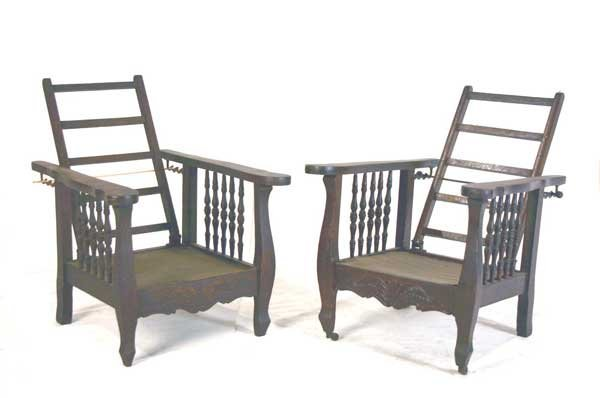 8:Pair Child's Oak Morris Style Chairs
