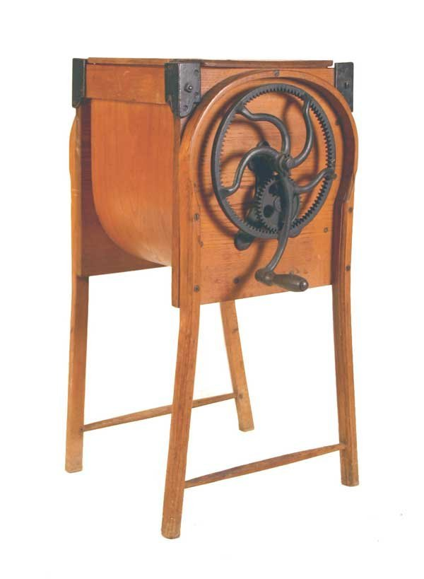 """11: Old Primative Butter Churn. 32.5""""h x 23""""w x 18.5""""d"""
