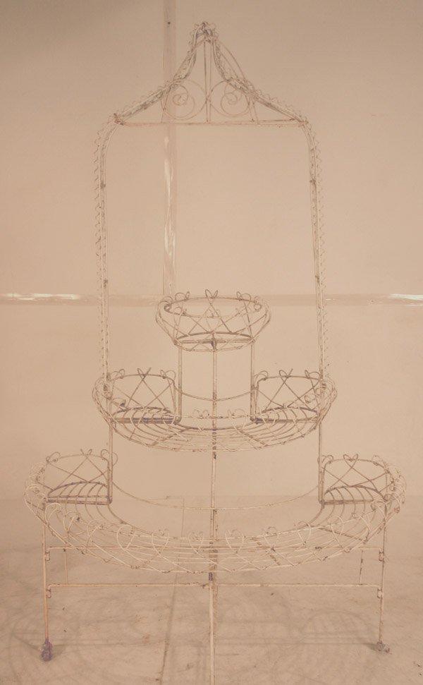 """19A: Antique Three Tier Wire Garden Stand. 75.5""""h x 45"""""""