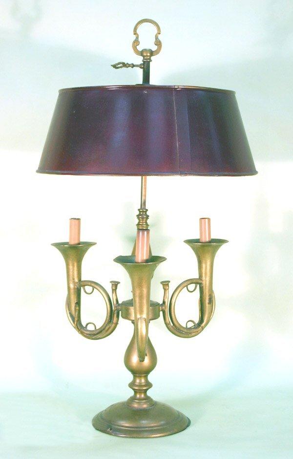 "20: Antique Brass Trumpet Student Lamp. 29.5""h"