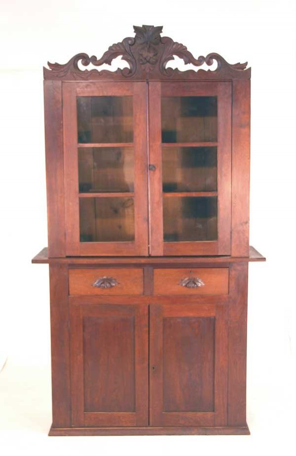 21: Country Victorian Kitchen Cabinet with Carved Detai
