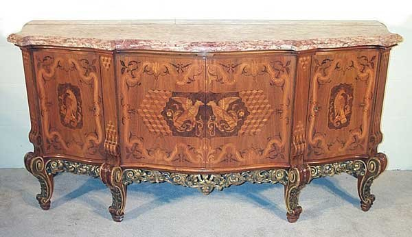 "77: Marble Top French Inlaid Server. 38""h x 78""l x 25""d"