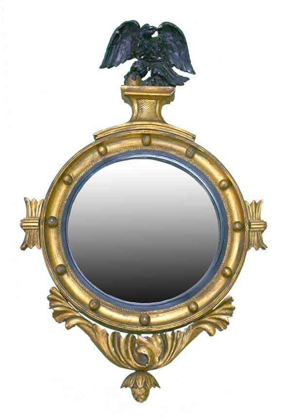 212: Classical Revival Convex Wall Mirror. Giltwood wit