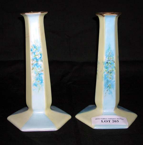 "203: Pair Bavaria Porcelain Floral Candlesticks 8""h"