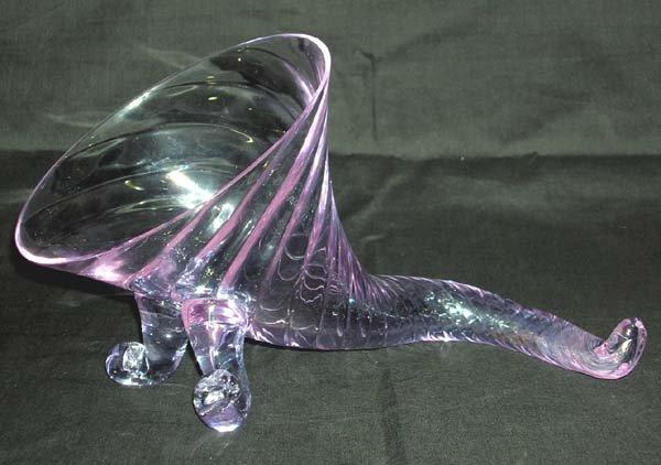205: Blue Glass Cornucopia