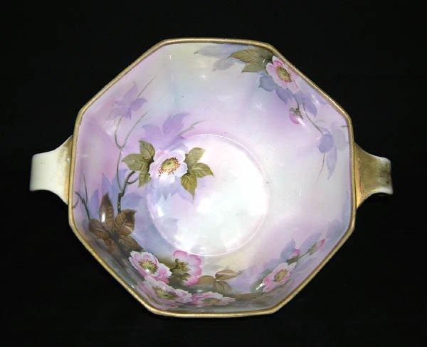 """207: Porcelain Floral Painted Handled Bowl 4""""h x 11""""d"""