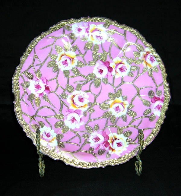"""208: Hand Painted Porcelain Nippon Plate 9.5""""d"""