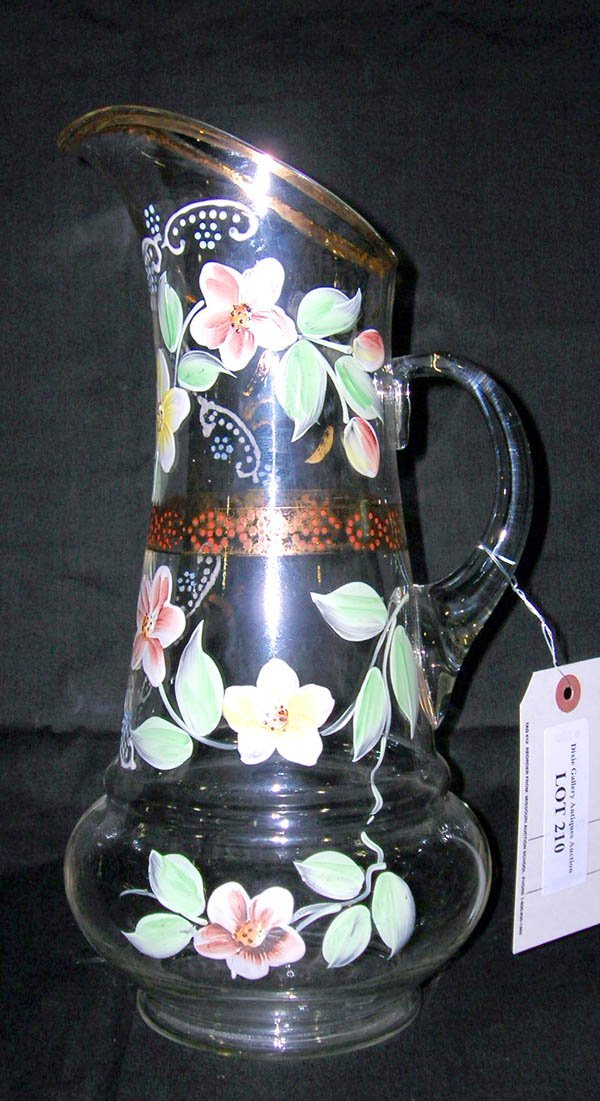 """210: Hand Painted Glass Pitcher 13.25""""h"""