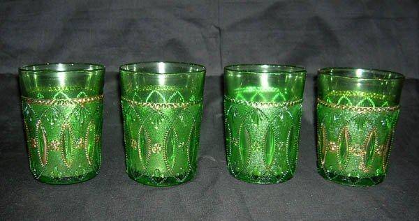 212: Four Green Northwood Depression Glass Tumblers, Po
