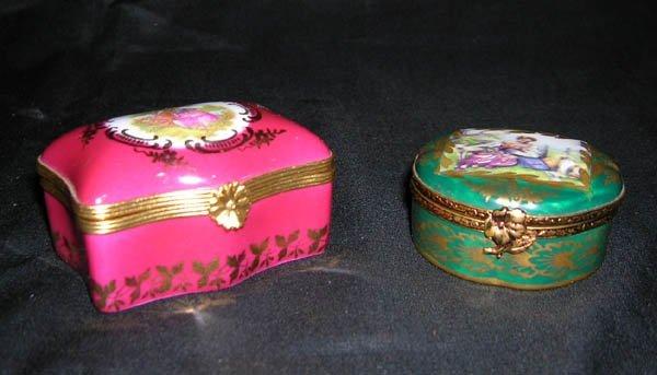 215: Pair Limoges Porcelain Miniature Dresser Boxes 1.2