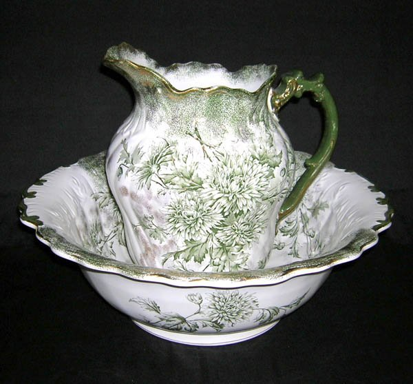 217: Porcelain Bowl & Pitcher Set Marked Devon, Pitcher