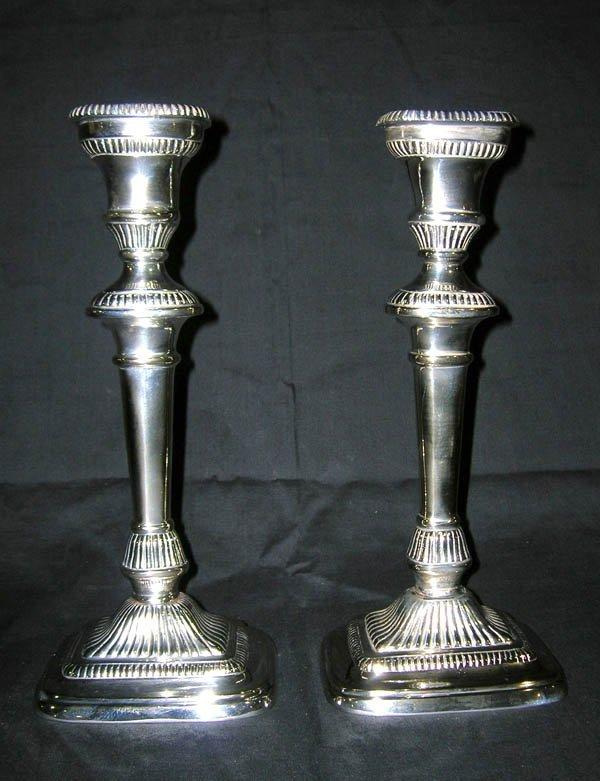 "220: Pair Silverplated Candlesticks 11.5""h"