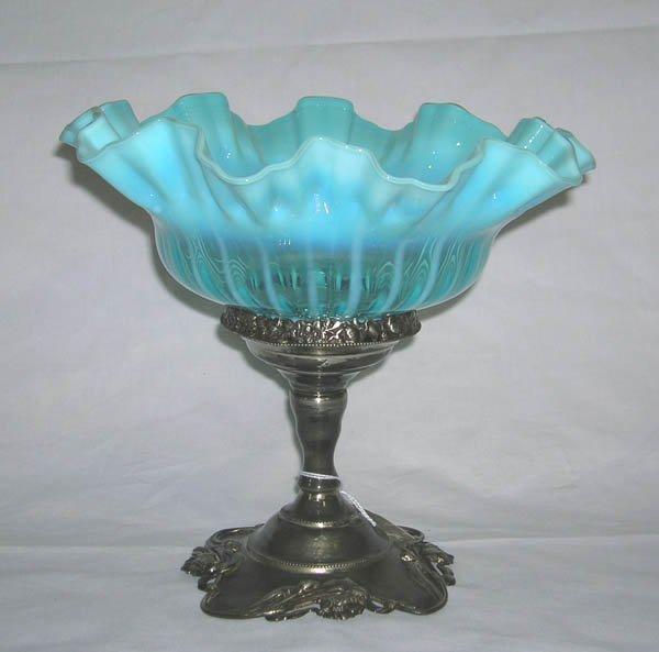 """223: Victorian SP Brides Basket w/Blue Bowl 9.25""""h x 10"""
