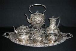 521 Eight Piece Silver over Copper Tea Set Marked EG