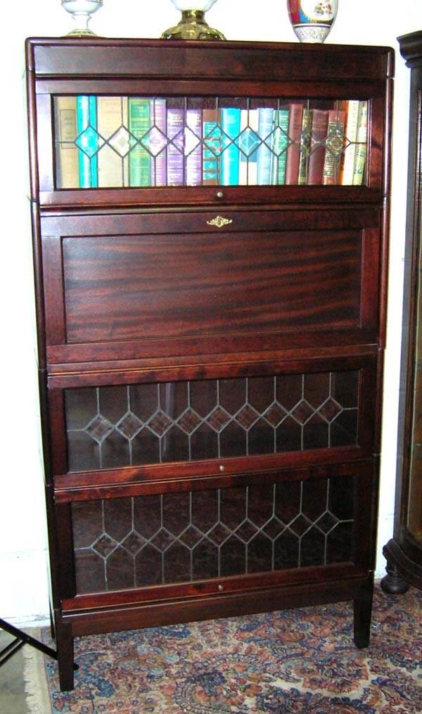 523: Mahogany Bevelled Glass Lawyers Bookcase w/Drop Fr