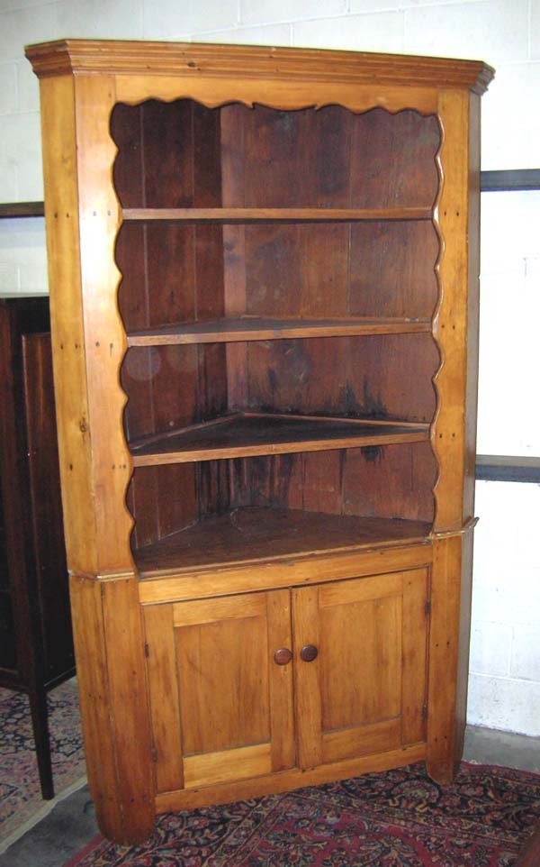 "543: Two Piece Primitive Pine Corner Cabinet 84""h x 49"""