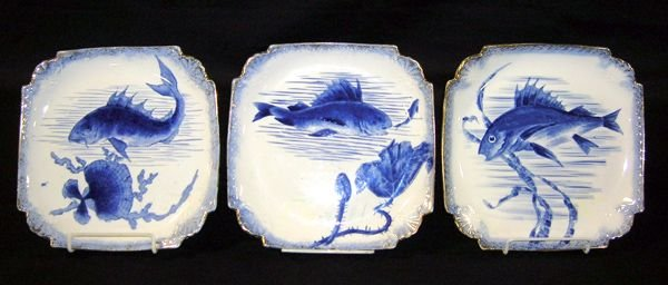 "570: Three Royal Bonn Blue & White Fish Plates 8.25""d"