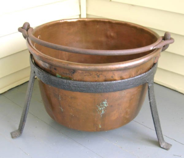 """1: 19th C Copper Cooking Pot with Stand. 26""""h x 28""""d"""