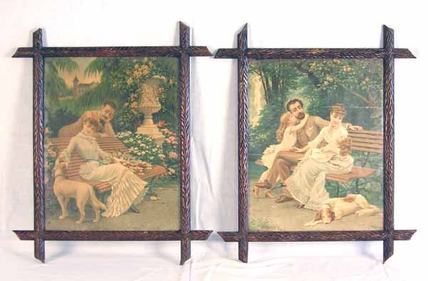 2: Pair Victorian Prints in Black Forest Frames
