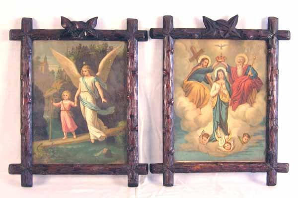 3: Pair Victorian Religious Prints in Black Forest Fram