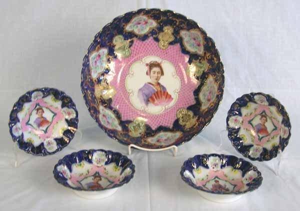 """5: Antique Nippon Berry Bowl Set. Large Bowl 11.25""""d, S"""
