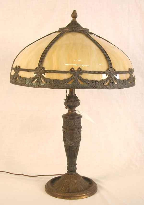 """8: Antique Slag Glass Lamp. 24""""h x 16""""d"""