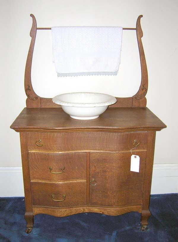 "13: Oak Serpentine Front Wash Stand w/Towel Bar. 57""h x"