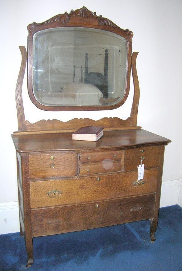 "14: Oak Mirrored Dresser. 71""h x 42""w x 19""d"