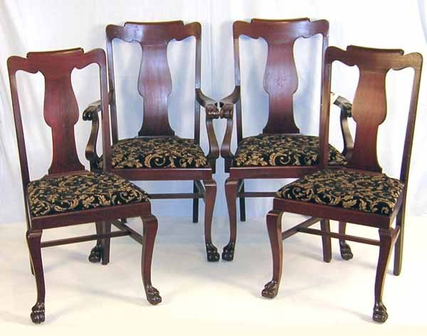 """18: Four Mahogany Revival Chairs w/Claw Feet. 39.5""""h x"""