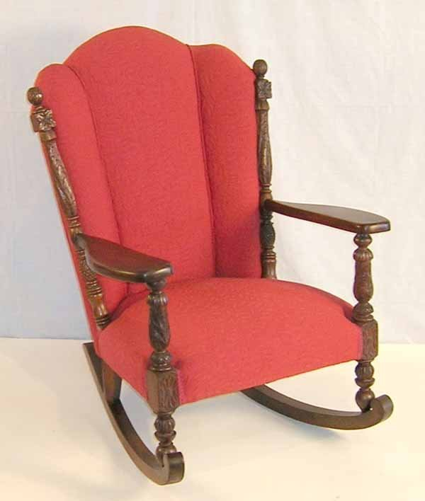 """19: Acanthus Carved Wing Back Rocker. 40.5""""h x 30""""w x 3"""