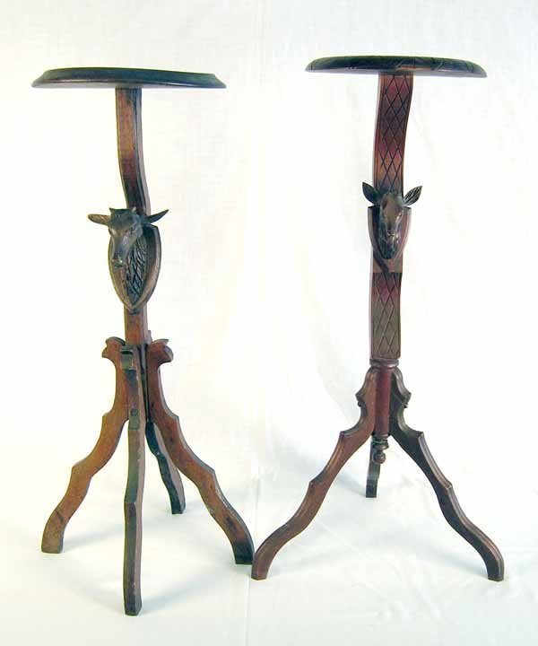 """20: Pair Black Forest Stands w/Deer Heads. 30.5""""h x 14"""""""