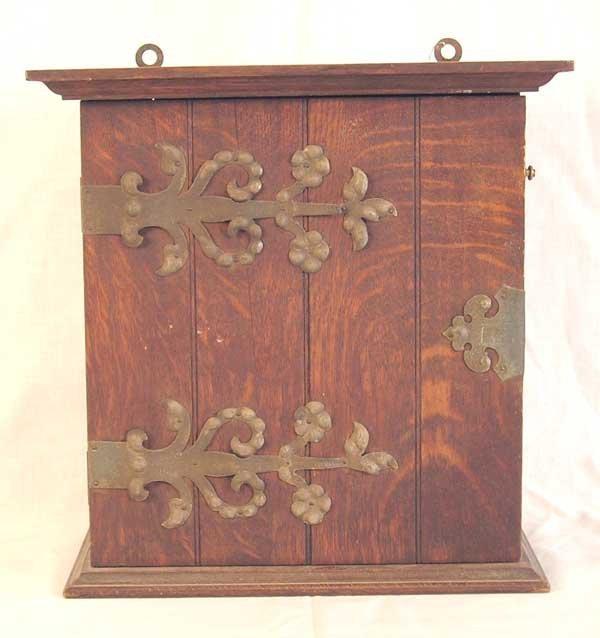 "22: Oak Hanging Wall Cabinet. 13.5""h x 13""w x 7.5""d"