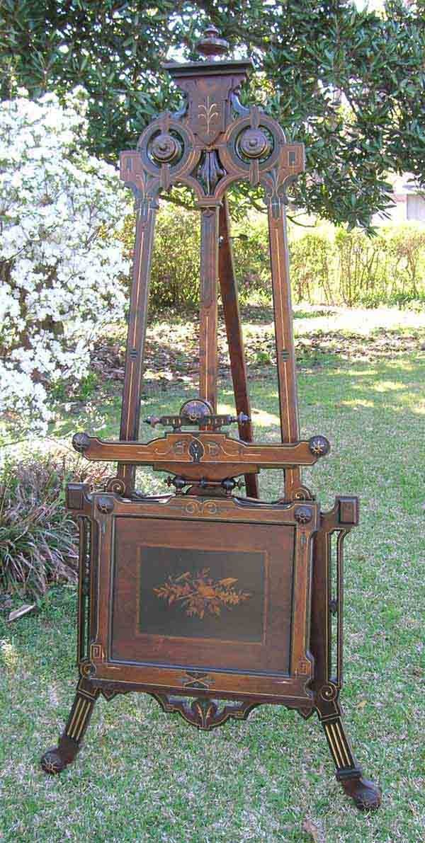 153: Victorian Portfolio Easel w/Incised Carving & Inla