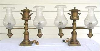 170: Pair Double Light Brass Argand Lamps w/Etched Shad