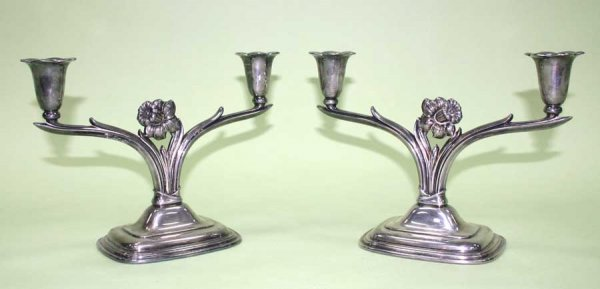 3: Pair Silver Plate Candle Holders Daffodil Pattern Ma