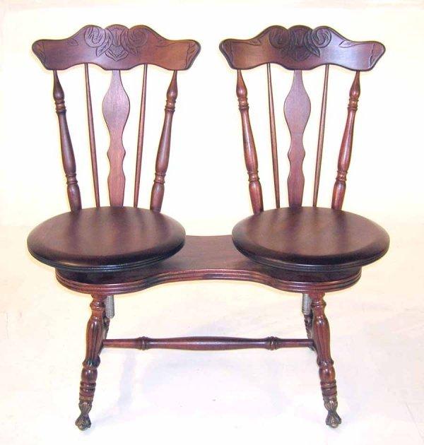 "4: Unusual Double Seat Piano Stool. 36""h x 34""w"