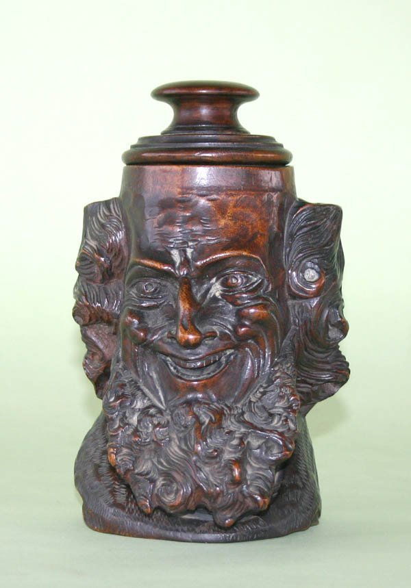 """5: Wood Carved Humidor with Man Face. 8""""h x 5""""d"""